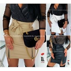 Женская юбка Экокожа с разрезами 12259A