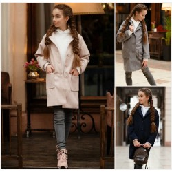 Подростковое кашемировое пальто на пуговицах 12658A