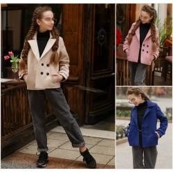 Подростковое короткое кашемировое пальто 12659A