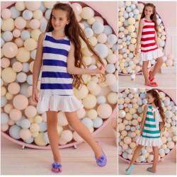 Подростковое летнее платье в полоску 13175A