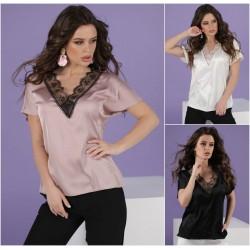 Женская шелковая блуза с кружевом 13315A
