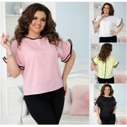 Женская блуза с рюшами на рукавах Батал 13318A